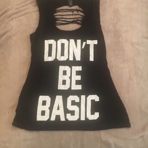 Tops - Don't be basic tank with shredded back